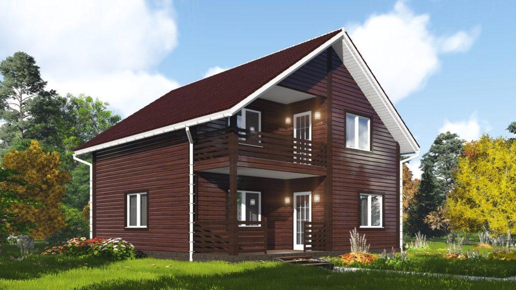 каркасный дом из дерева