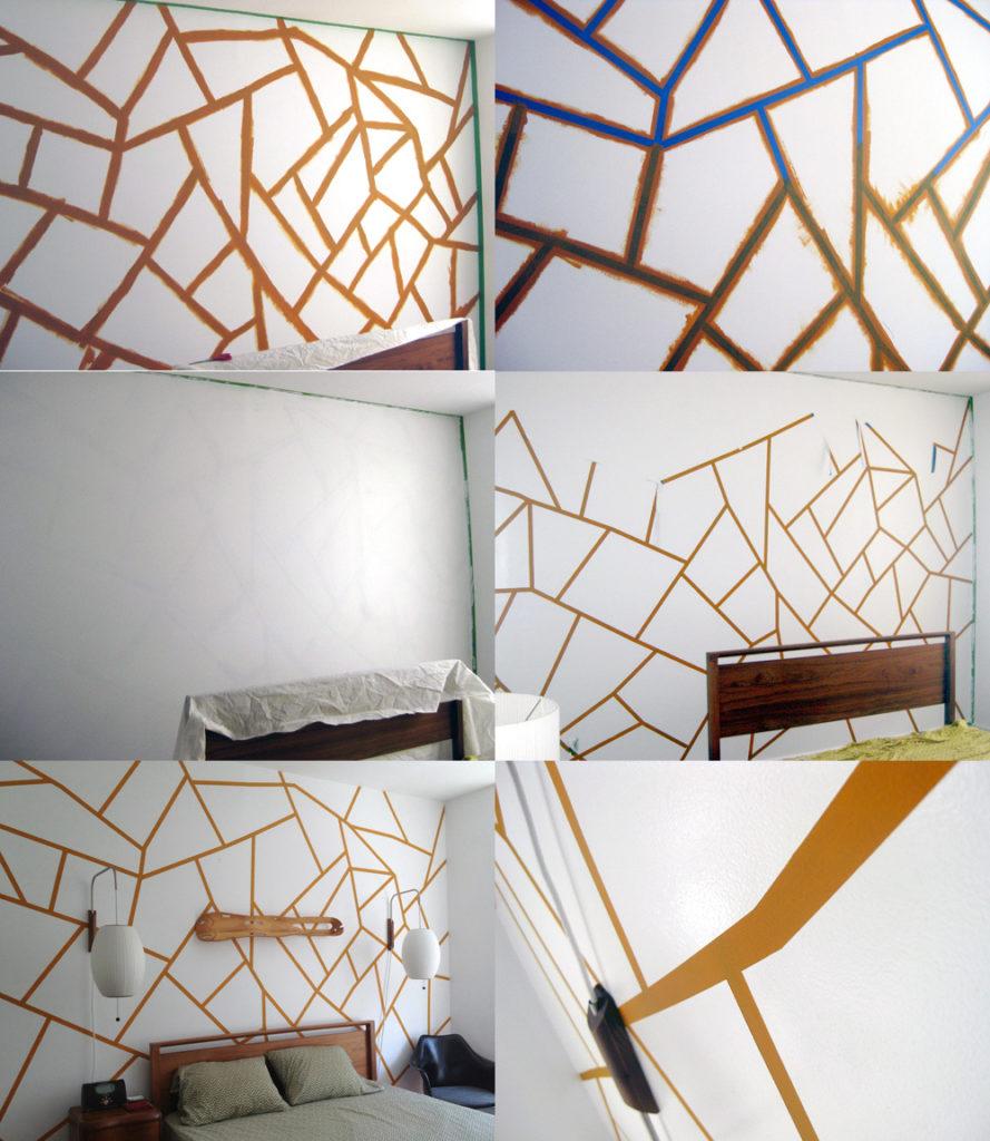 Геометрический рисунок на стене — пошаговый мастер-класс, фото