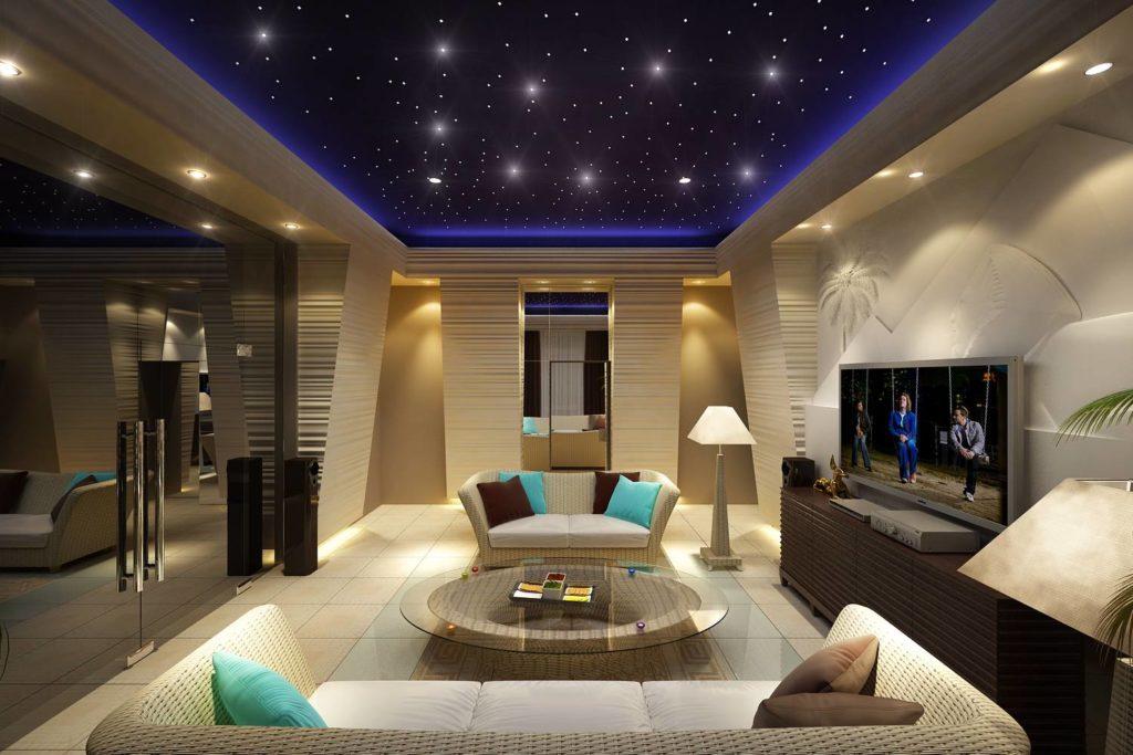 потолок в дизайне интерьера комнат